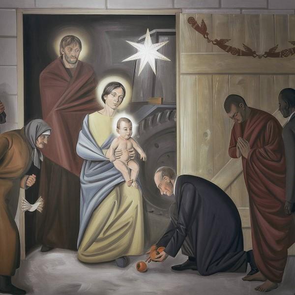 На фресці білоруського костела зобразили Путіна, який клякає перед Христом